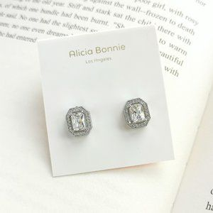 Alicia Bonnie rectangle pave silver cz earrings